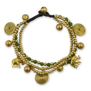 Handmade Brass 'Green Siam Elephants' Quartz Bracelet (Thailand)