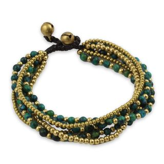 Handcrafted Brass 'Evergreen Joy' Serpentine Bracelet (Thailand)