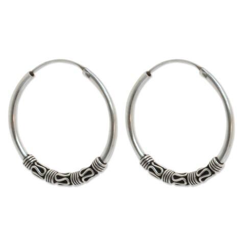 Handmade Sterling Silver Traditional Thai Earrings (Thailand)
