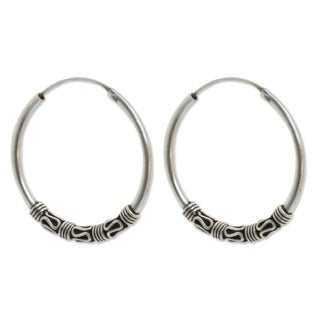 Handmade Sterling Silver 'Traditional Thai' Earrings (Thailand)