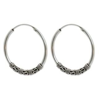 Handmade Sterling Silver 'Traditional Thai' Earrings (Thailand)