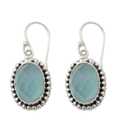 Handmade Sterling Silver 'Be Mesmerized' Chalcedony Earrings (India)