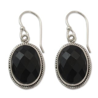 Handmade Sterling Silver 'Luscious Black' Onyx Earrings (India)