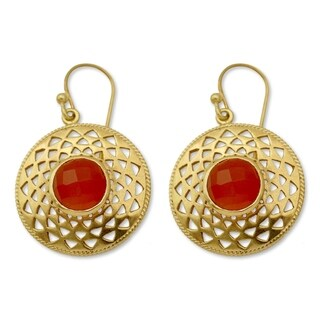 Handmade Gold Overlay 'Jaipur Sunshine' Onyx Earrings (India)