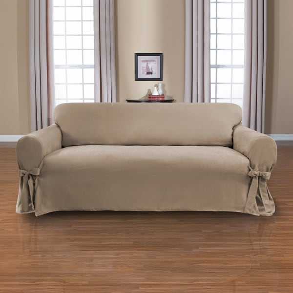 Shop Coverworks Sienna Suede 1 Piece Relaxed Fit Sofa