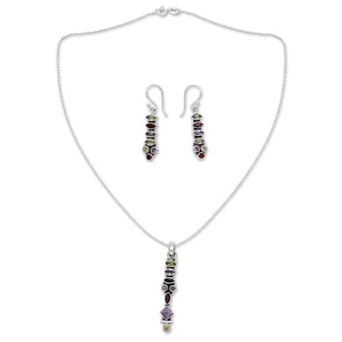 Handmade Sterling Silver 'Totem Lights' Multi-gemstone Jewelry Set (India)