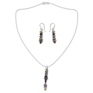 Handmade Sterling Silver 'Totem Lights' Multi-gemstone Jewelry Set (India)