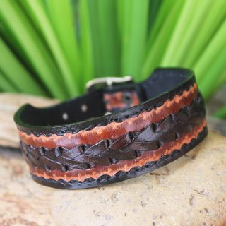 Handmade Men's Leather 'Explorer' Bracelet (Thailand)