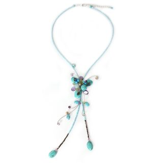 Handmade Silver Overlay 'Tender Blossoms' Multi-gemstone Choker (Thailand)