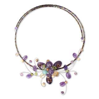 Stainless Steel 'Fantasy in Flowers' Multi-gemstones Choker (Thailand)