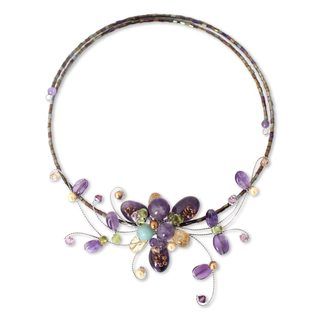 Stainless Steel 'Fantasy in Flowers' Multi-gemstones Choker (Thailand)