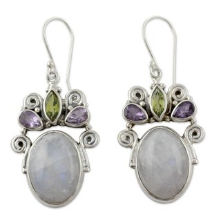 Sterling Silver 'Aura' Multi-gemstone Earrings (India)