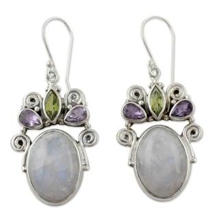Handmade Sterling Silver 'Aura' Multi-gemstone Earrings (India)