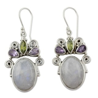 Handmade Sterling Silver 'Aura' Multi-gemstone Earrings (India)