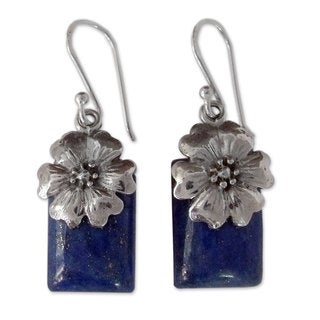 Handmade Sterling Silver 'Blue Lily' Lapis Lazuli Earrings (India)