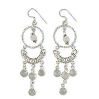 Sterling Silver 'Magical' Rainbow Moonstone Earrings (India)