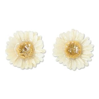 Natural Flower 'White Aster' Earrings (Thailand)