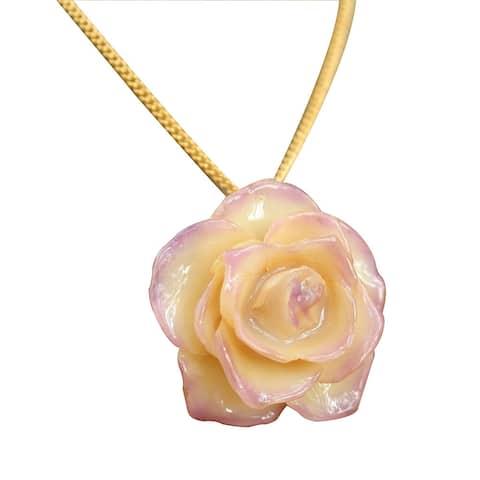 Handmade Gold Overlay 'Pink Caress' Natural Rose Necklace (Thailand)