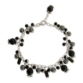 Sterling Silver 'After Midnight' Multi-gemstone Bracelet (India)