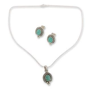 Handmade Sterling Silver 'Song of Joy' Magnesite Jewelry Set (India)|https://ak1.ostkcdn.com/images/products/10332194/P17442784.jpg?impolicy=medium
