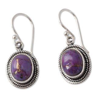 Link to Handmade Sterling Silver Purple Majesty Earrings (India) Similar Items in Earrings