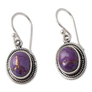 Handmade Sterling Silver 'Purple Majesty' Turquoise Earrings (India)