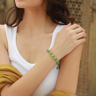 Oneness Handmade Green Jade Bead Natural Hand Crochet Macrame Adjustable Length Womens Shamballa Bracelet (India)
