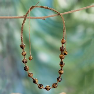 Link to Handmade Embellished 'Oneness' Tiger's Eye Necklace (India) Similar Items in Fashion Jewelry Store
