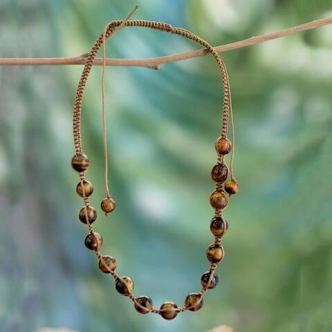 Handmade Embellished 'Oneness' Tiger's Eye Necklace (India)