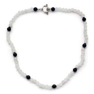 Handmade Sterling Silver 'Jaipur Skies' Moonstone Lapis Lazuli Necklace (India)