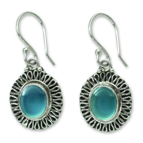 Sterling Silver 'Blue Fortune Sun' Chalcedony Earrings (India)