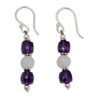 Handmade Sterling Silver 'Sweet Discretion' Amethyst Moonstone Earrings (India)