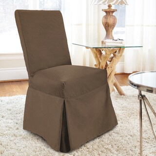 CoverWorks Tara Twill Relaxed Fit Long Dining Chair Slipcover (Set of 4)