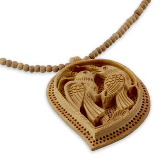 Handmade Kadam Wood 'Lovebirds' Necklace (India)