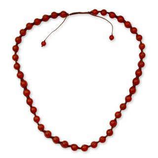 Handmade Beads Agate Rajasthani Red Necklace (India)