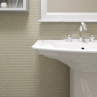 SomerTile 11.25 x 11.75-inch Andromeda Penny Round Almond Porcelain Mosaic Wall Tile (Pack of 10)