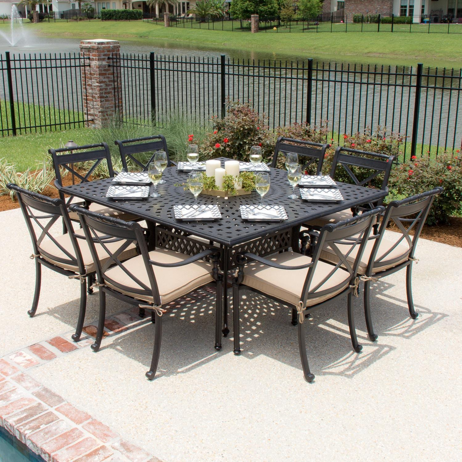 Carrolton 8 Person Cast Aluminum Patio Dining Set With Square Table Overstock 10332256