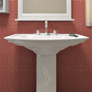 SomerTile 11.25 x 11.75-inch Andromeda Penny Round Red Porcelain Mosaic Wall Tile (Pack of 10)