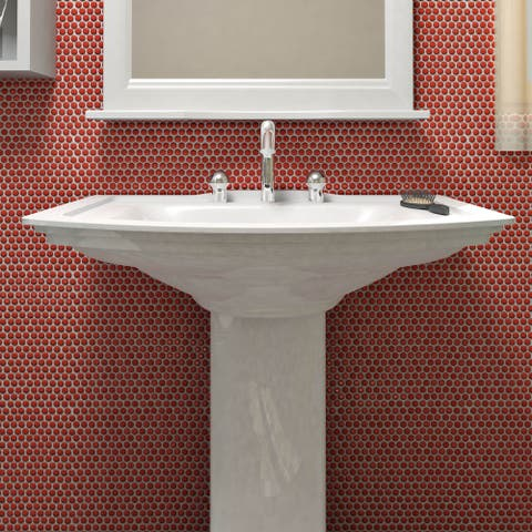SomerTile 11.25x11.75-inch Andromeda Penny Round Red Porcelain Mosaic Wall Tile (10 tiles/9.4 sqft.)