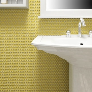 SomerTile 11.25x11.75 Inch Andromeda Penny Round Yellow Porcelain Mosaic  Wall Tile (