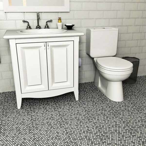 SomerTile 11.25 X 11.75 Inch Asteroid Penny Round Luna Porcelain Mosaic  Floor And Wall Tile