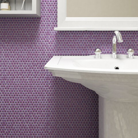 SomerTile 11.25x11.75-inch Andromeda Penny Round Purple Porcelain Mosaic Wall Tile (10 tiles/9.4 sqft.)