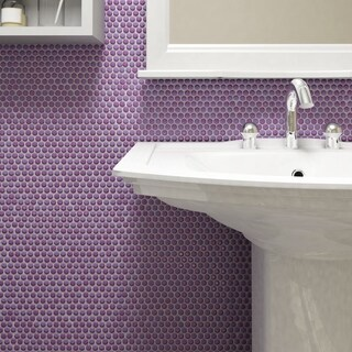 SomerTile 11.25 x 11.75-inch Andromeda Penny Round Purple Porcelain Mosaic Wall Tile (Pack of 10)