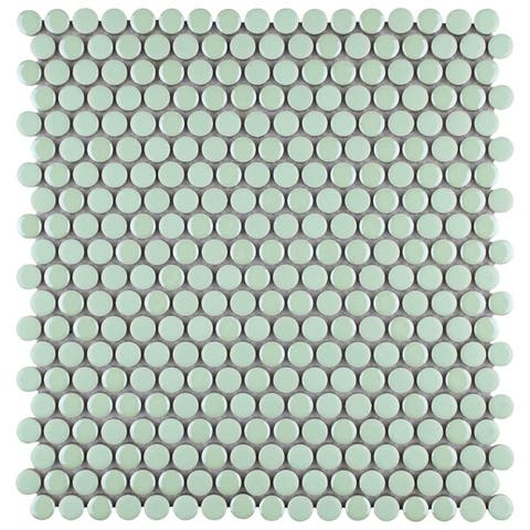 SomerTile 11.25x11.75-inch Andromeda Penny Round Mint Porcelain Mosaic Wall Tile (10 tiles/9.4 sqft.)