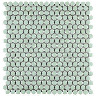 SomerTile 11.25 x 11.75-inch Andromeda Penny Round Mint Porcelain Mosaic Wall Tile (Pack of 10)