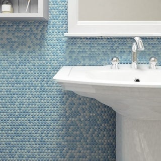 SomerTile 11.25 x 11.75-inch Andromeda Penny Round Oceano Porcelain Mosaic Wall Tile (Pack of 10)
