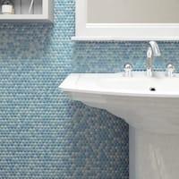 SomerTile 11.25x11.75-inch Andromeda Penny Round Oceano Porcelain Mosaic Wall Tile (10 tiles/9.4 sqft.)
