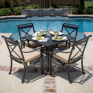 Carrolton 4-Person Cast Aluminum Patio Dining Set With Square Table
