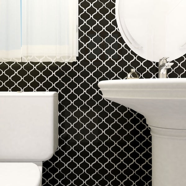 Somertile victorian morocco glossy black for 10 inch floor tiles