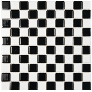 SomerTile 12x12-inch Tartan Glossy Porcelain Mosaic Floor and Wall Tile (Case of 10)